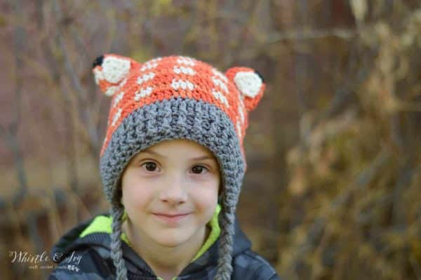FREE Crochet Pattern: Crochet Plaid Fox Hat | This cute woodland inspired hat is easier to make than it looks and works up quick!