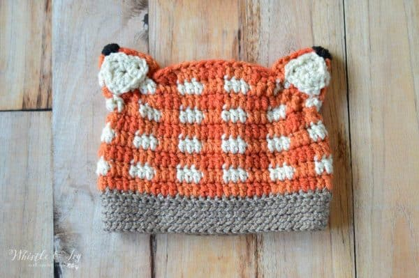 FREE Crochet Pattern: Crochet Plaid Fox Hat | This cute woodland inspired hat is easy to make than it looks and works up quick!