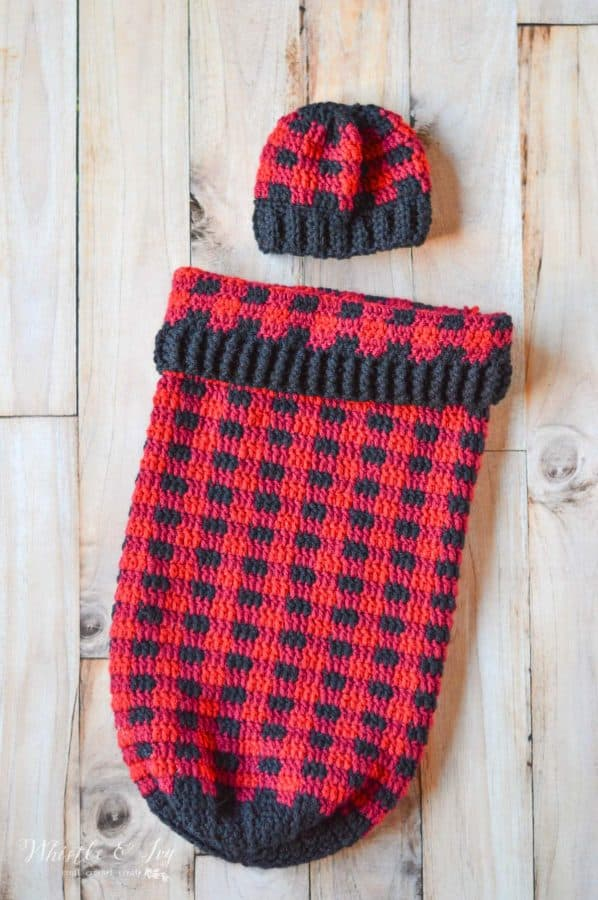 buffalo plaid crochet cocoon blanket and hat for baby crochet pattern