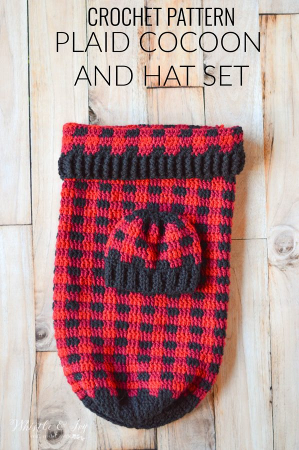 crochet buffalo plaid baby cocoon and hat set crochet pattern