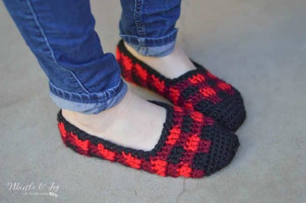 FREE Crochet Pattern: Crochet Plaid Slippers | Make these cute slippers in classic Buffalo Plaid, perfect for chilly fall days or your Holiday list!
