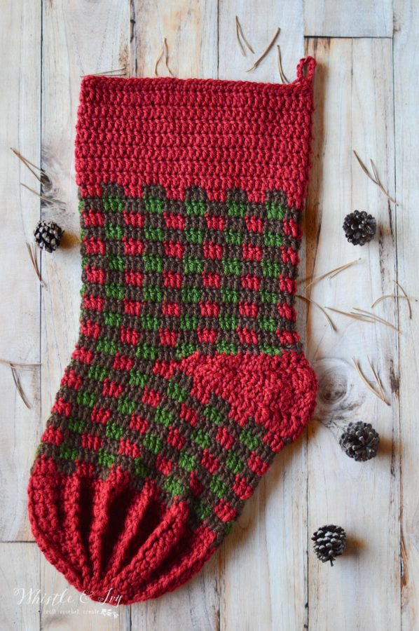 free crochet pattern crochet plaid stocking bring a rustic and classic look to your