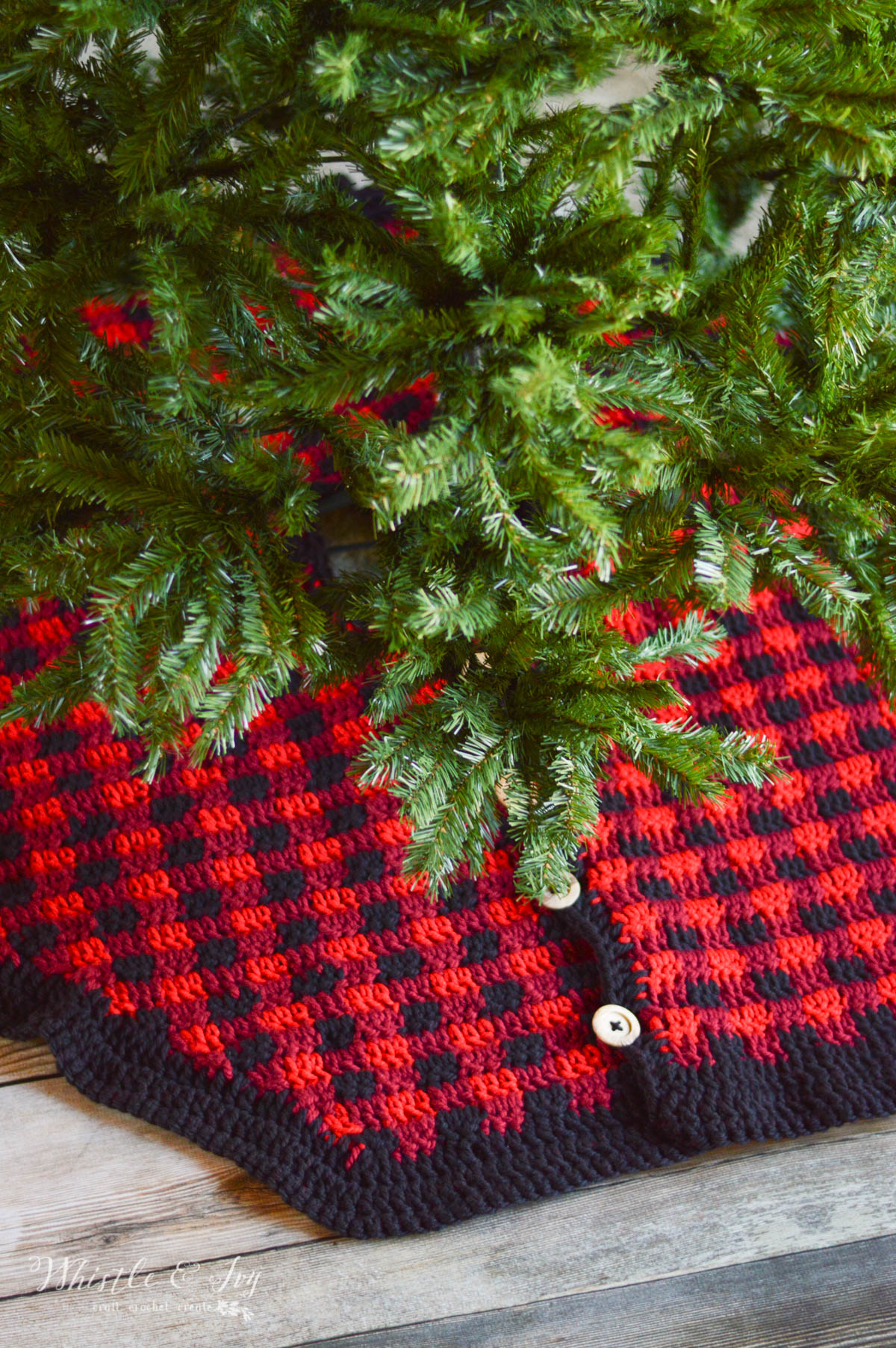 Crochet Plaid Tree Skirt Free Crochet Pattern Whistle And Ivy