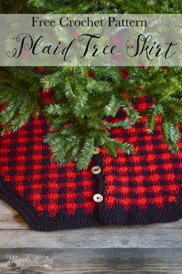 chunky crochet plaid tree skirt with wood buttons