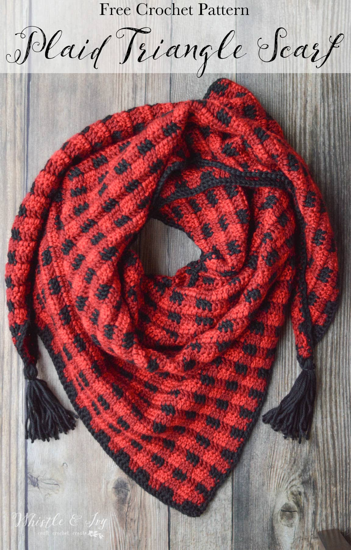Crochet Plaid Triangle Scarf - Free Crochet Pattern - Whistle and Ivy