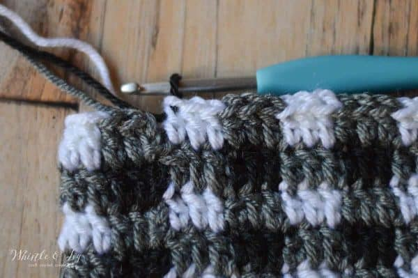 Crochet Plaid Stitch - This stitch gets an update! Learn to work this stitch with a less noticeable seam. New to crochet buffalo plaid? Learn more here!