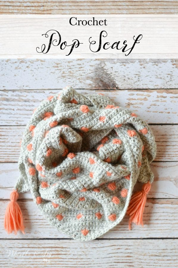 Crochet Pop Scarf - This pretty scarf comes in a fabulous kit by We Are Knitters! It's beginner friendly and cozy to wear.
