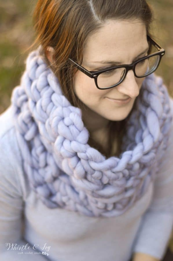 FREE Crochet Pattern: Super Bulky Crochet Cowl | Make this ultra-trendy cowl with only 6 rows! Plus, learn where to get this lush yarn, for cheap!