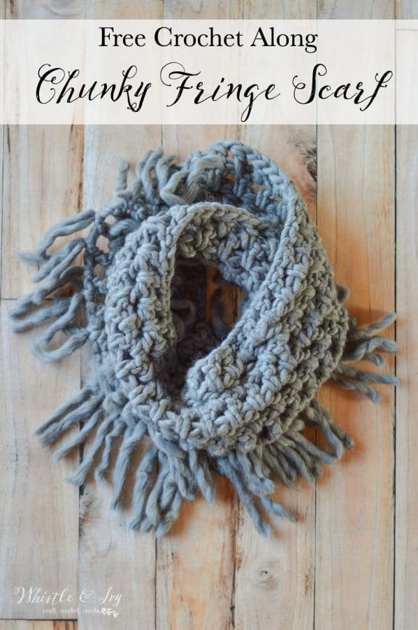 FREE Crochet Mini CAL - Lets work together and make this trendy chunky fringe scarf, made of super soft chunky yarn. Perfect for gifting or keeping!