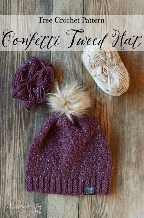 FREE Crochet Pattern: Crochet Confetti Tweed Slouchy - This pretty tweed slouchy hat is stylish all winter long, and the earthy flecks are a nod to confetti and NYE!