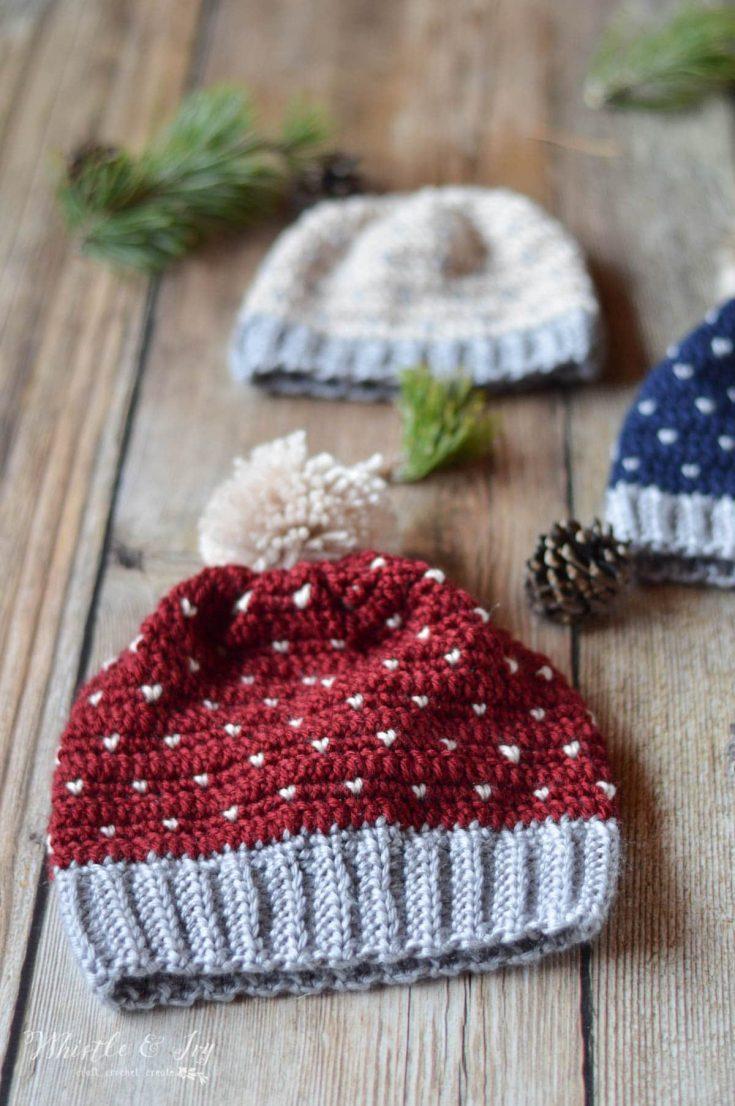 Crochet Snowfall Hat - Size Baby to Adult - Free Crochet Pattern