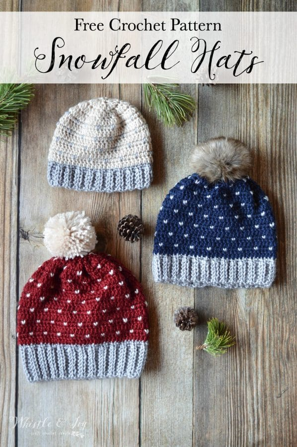 crochet hat with 3 different sizes, with yarn and fur pom-poms with heart and knit stitch patterns.