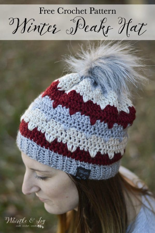 FREE Crochet Pattern: Winter Peaks Hat - This pretty hat is fun to make and has a beautiful texture with rows for color work!