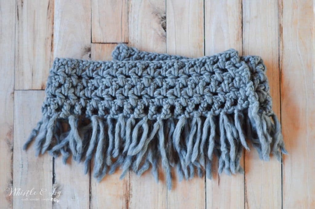 Chunky Fringe Infinity Scarf Free Crochet Pattern Whistle And Ivy