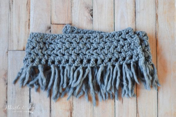 FREE Crochet Pattern: Chunky Fringe Scarf CAL - finish up this quick and easy scarf by adding fringe and sewing the ends together!