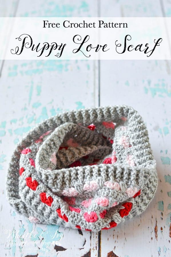 gray crochet infinity scarf pattern featuring red and pink hearts