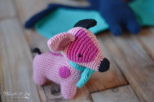 cute crochet dog with blue bow tie