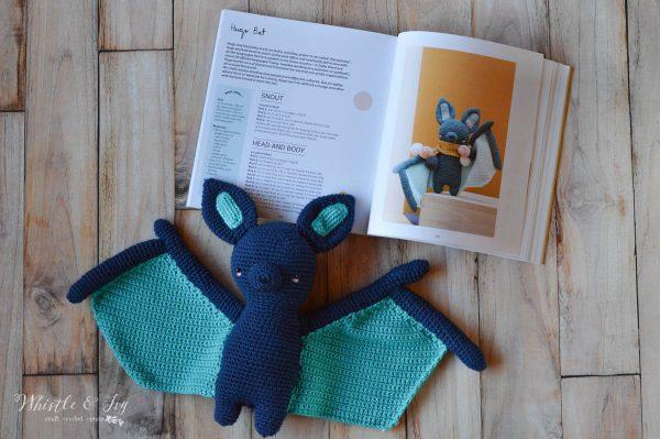 cute crochet bat with crochet book