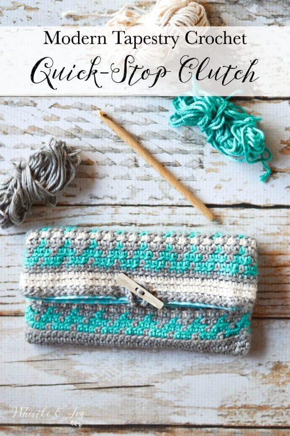 Crochet Quick-Stop Clutch - This beautiful tapestry crochet work is much easier than you think and has an amazing effect. Learn how to make this clutch and lots of other amazing projects in Modern Tapestry Crochet.