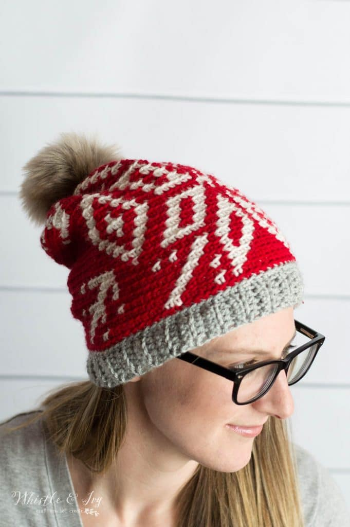 red and white snowflake crochet hat