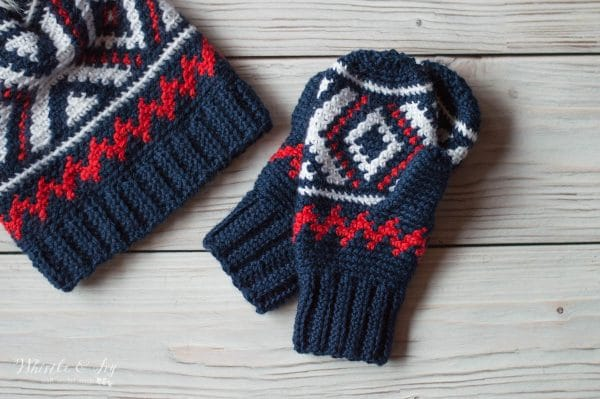 red white and blue fair isle crochet mittens
