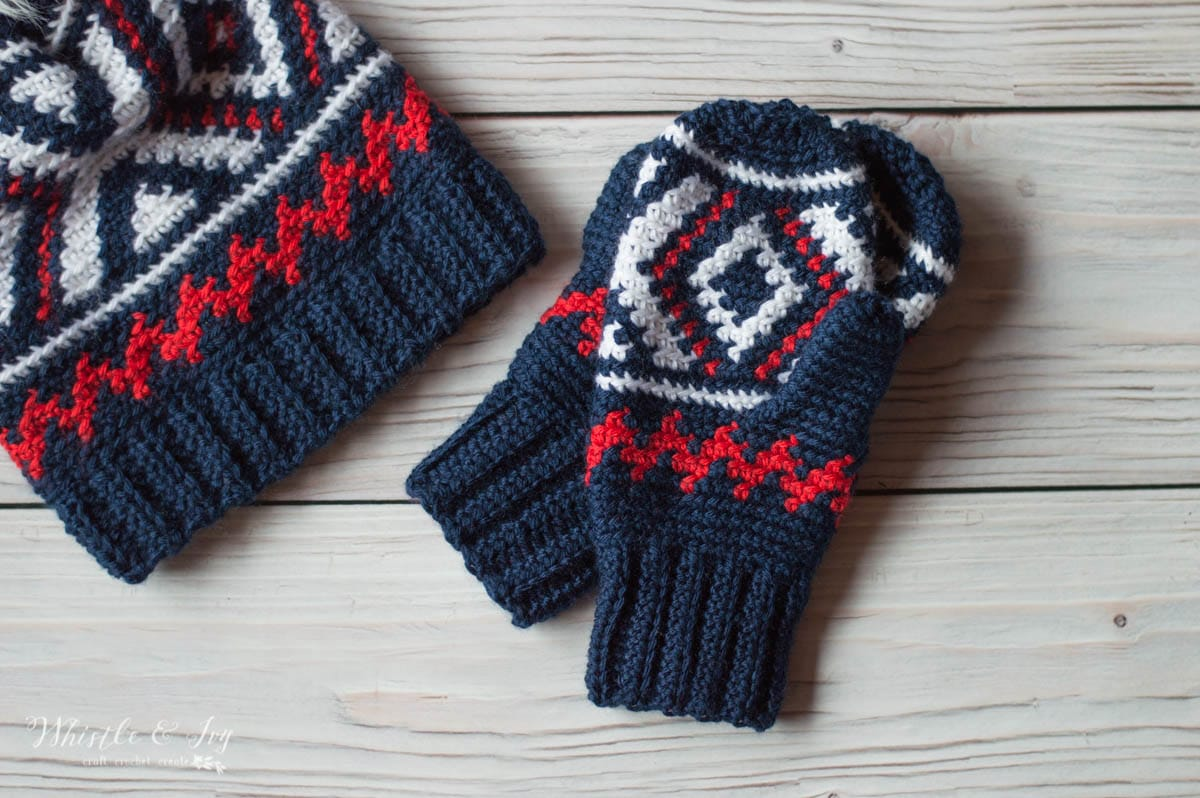Fair Isle Neva Mittens Free Crochet Pattern Whistle