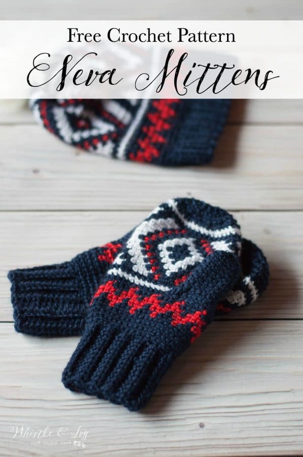 red white and blue crochet mittens with fair isle pattern