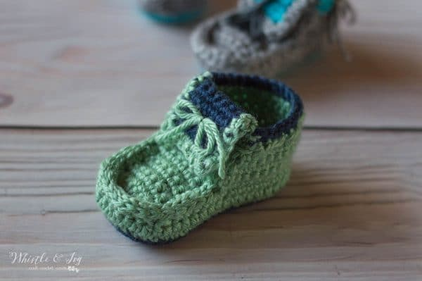 green and blue crochet moccasin for baby