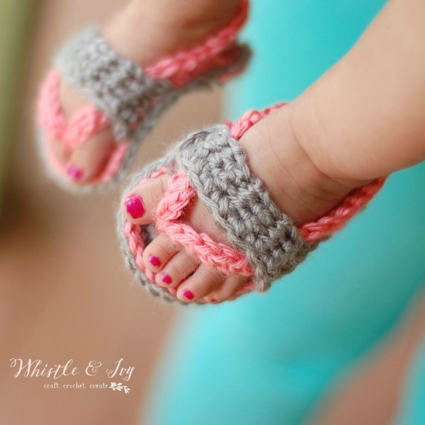 baby feet wearing crochet flip flops