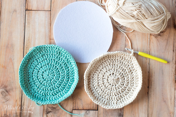 two crochet circles and felt circle