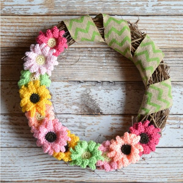 grapevine wreath with crochet Gerbera daisies