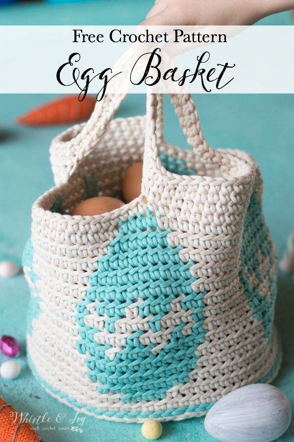 crochet basket with decorated egg