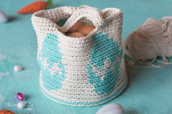 crochet egg basket with brown eggs
