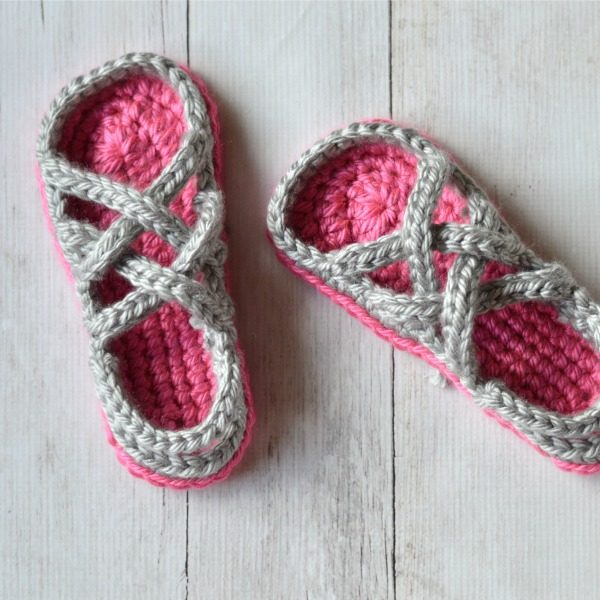 Pink and gray crochet gladiator slipper sandals