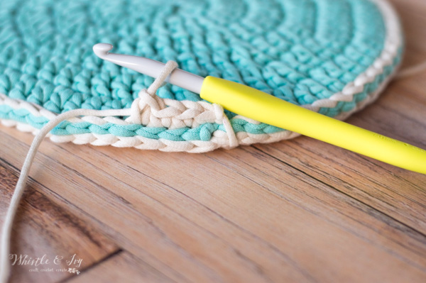 crochet hook making a basket