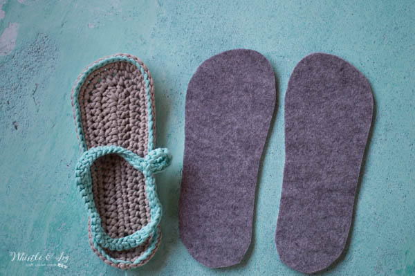 women's crochet flip-flops with felt soles