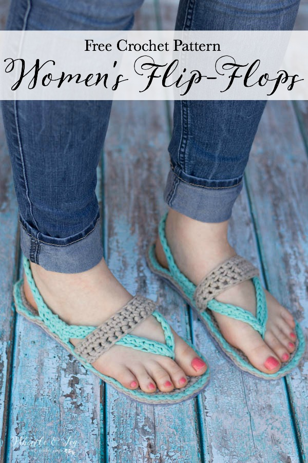 feet wearing women's crochet flip-flops sandals