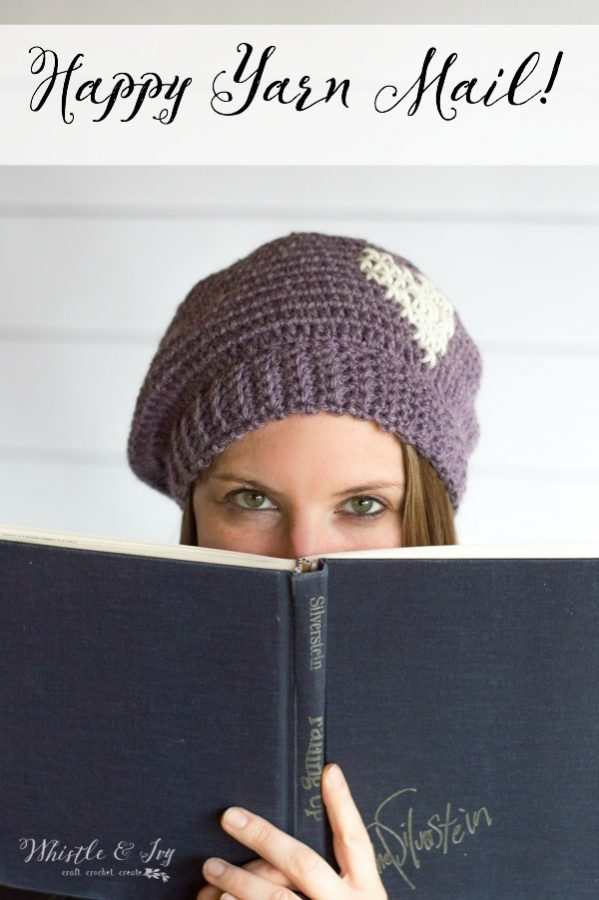 women wearing crochet beret reading a book, a project from a crochet subscription, happy yarn mail