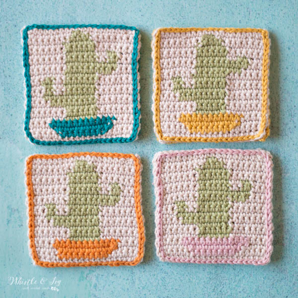 set of 4 crochet cactus coasters