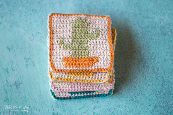crochet cactus coasters set of four