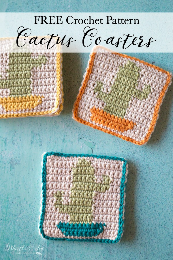 crochet cactus coasters in orange, blue and yellow