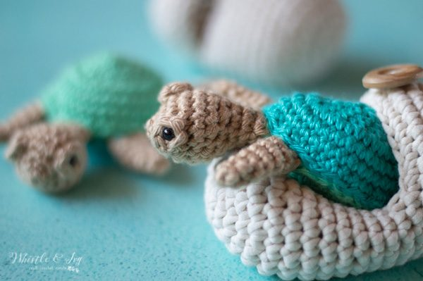 crochet turtle hatching out of egg