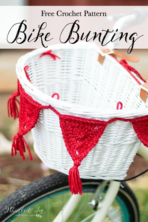 crochet bike bunting made with outdoor yarn