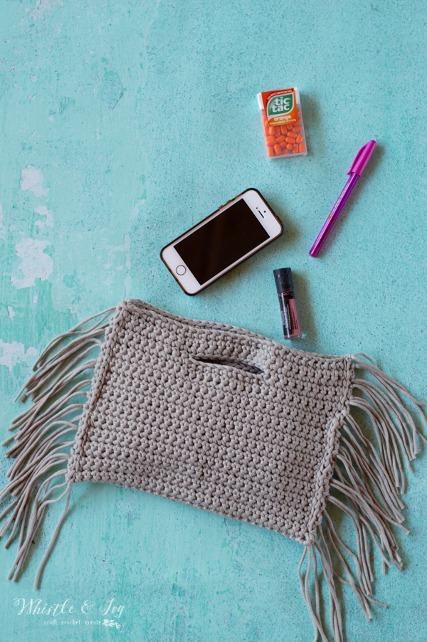Crochet Fringe Clutch - Free Crochet Pattern - Whistle and Ivy