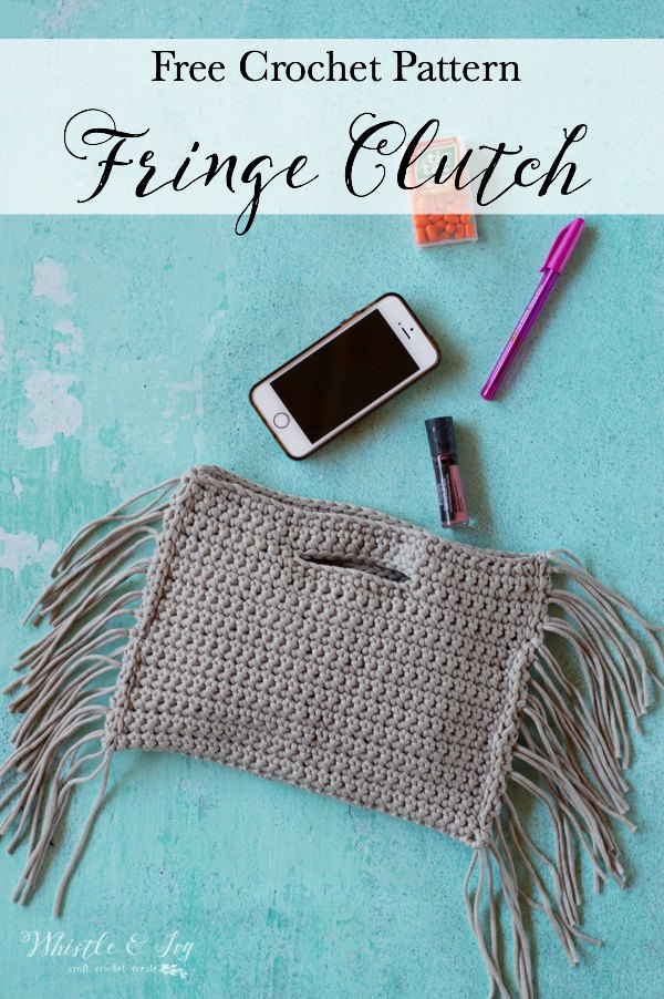 gray Crochet fringe clutch free crochet pattern