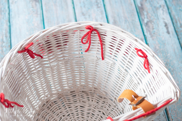 crochet bunting tied to basket