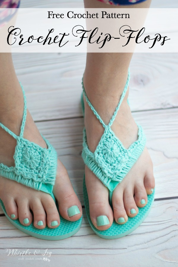 crochet around foam flip flops into cute crochet flip flops