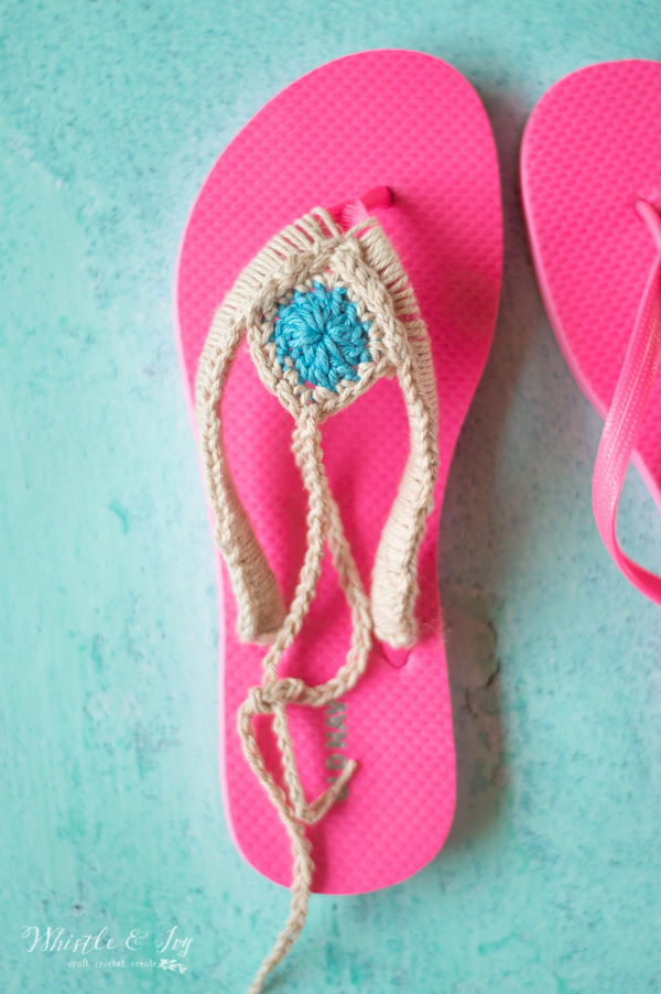 crochet on foam flip flops