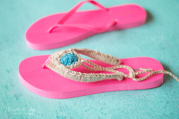 crochet on foam flip flops for cute sandals