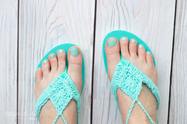 341a5778bfdc Crochet Flip Flops Upcycle - Free Crochet Pattern - Whistle and Ivy